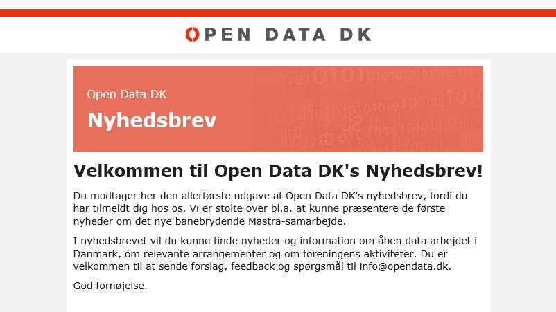 Open Data DK har fået et nyhedsbrev