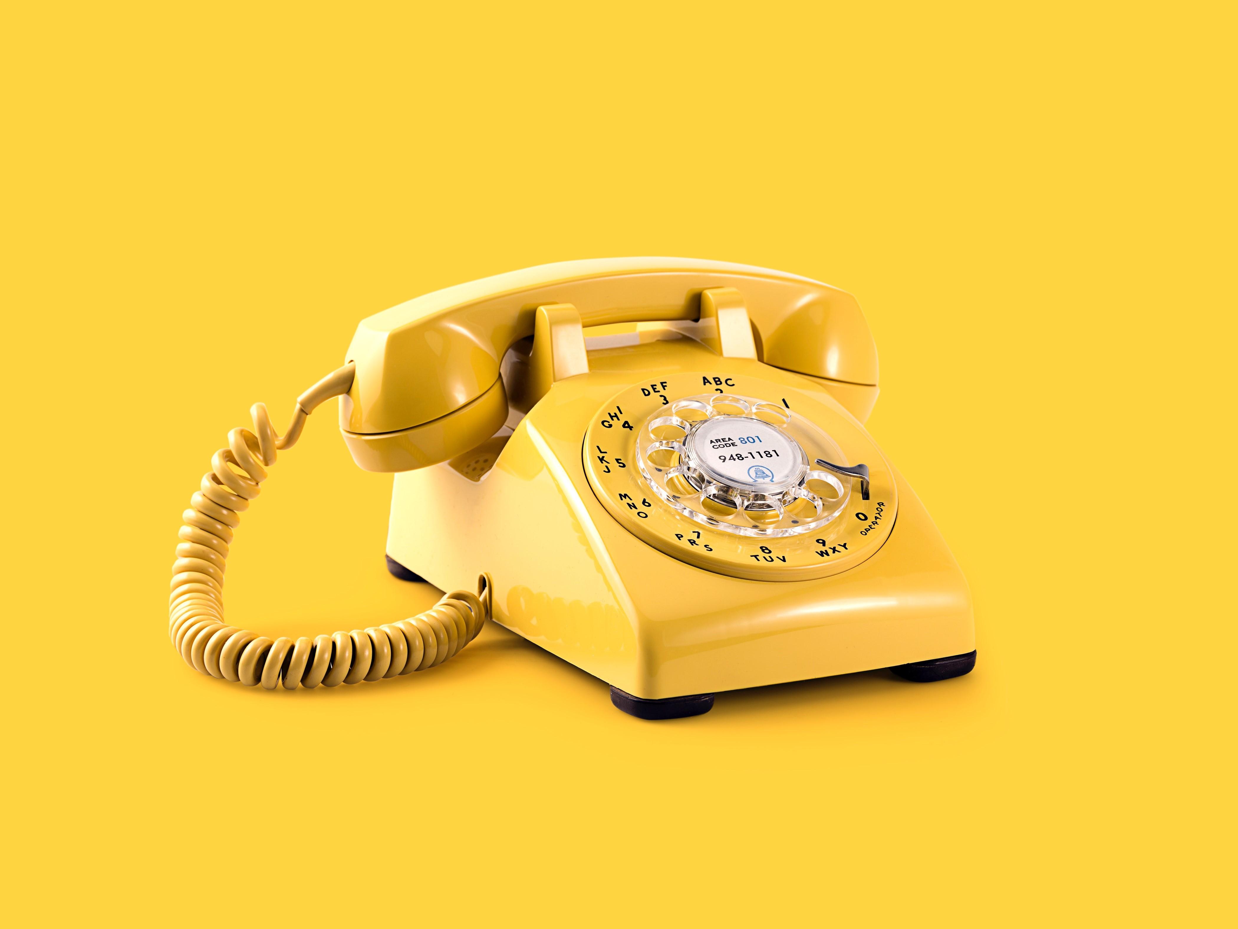 Billede af gul telefon
